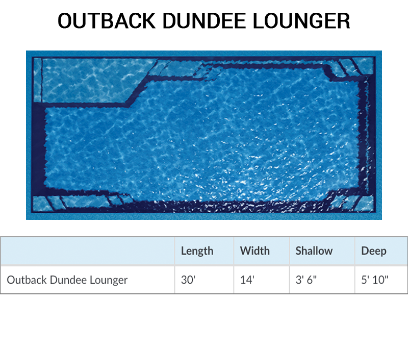 Outback Dundee Lounger Rectangle Fiberglass Pool by Barrier Reef